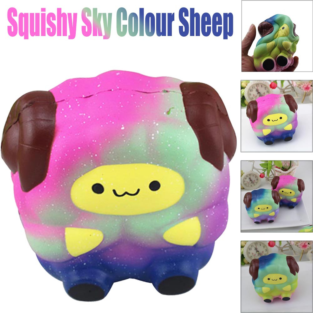 Soft Sheep Cartoon Squishy Slow Rising Squeeze Stress Reliever Toy Phone Straps Ballchains