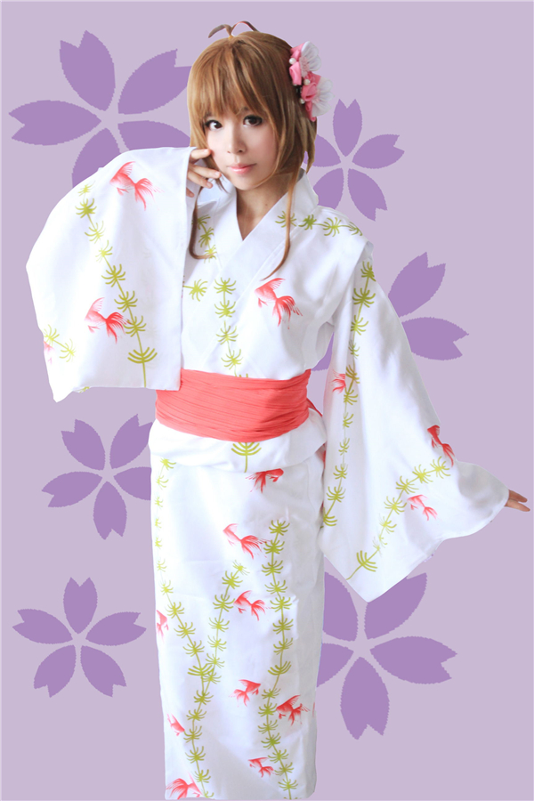New Clothing Hot Anime Card Captor Sakuran Goldfish Kimono Sakura Uniform Cosplay Costume Customized