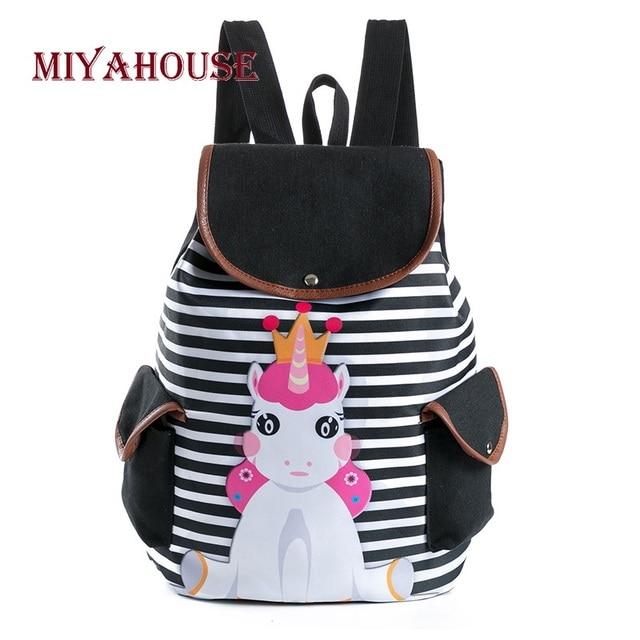 9ea5e0b3ae81b Miyahouse Casual Striped Unicorn Printed School Backpack For Teenage Girls  Cartoon Design Canvas Drawstring Travel Bag
