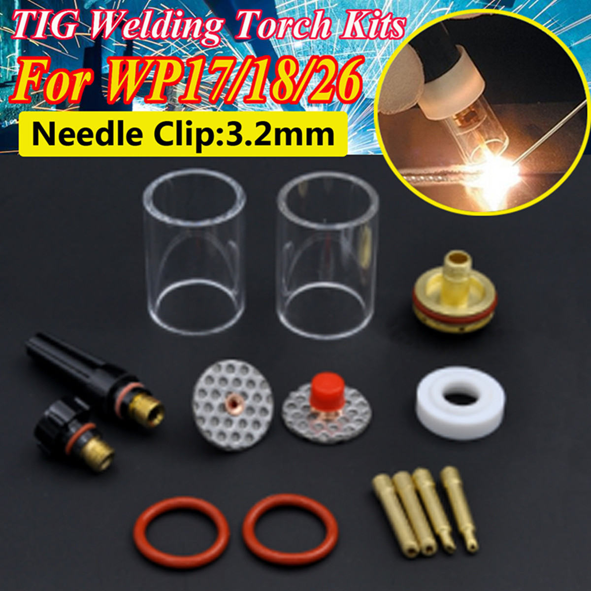 New 14PCS TIG Welding Torch Stubby Gas Lens Glass Pyrex Cup Kit 3.2mm 1/8 For WP17/18/26 Welding Series new 1 1 6 2 4 3 2mm 45pcs tig welding torch stubby gas lens glass pyrex cup kit for wp 17 18 26 series welding tool accessories