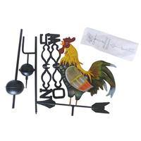Traditional Painted Cock Wind Vane Flower Insert Country Style Classic Home Yard Garden Decoration