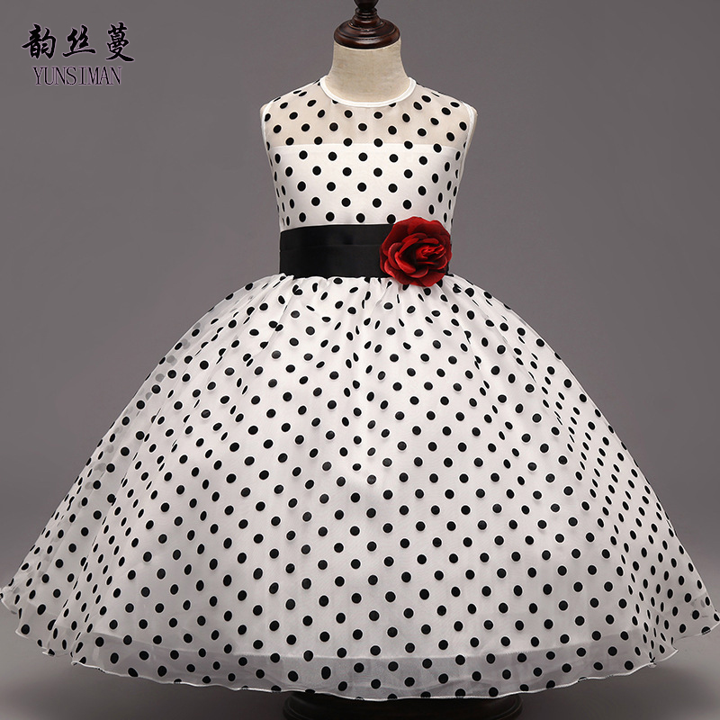 Spring Children Dresses Size 4 6 8 10 Years Baby Flower Belt Dot Print Kids Tutu Dress Girls Princess Party Costume 3 5 7 2C03 summer flower children princess dresses for wedding and party 1 2 3 4 5 6 7 8 years girls clothes new style toddlers kids dress