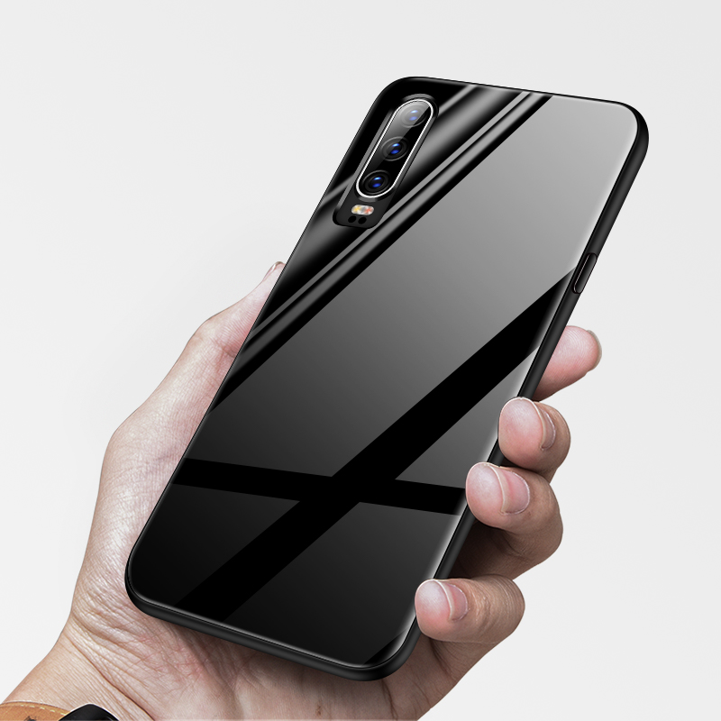 Coque Luxury Plain Tempered Glass Phone Case For Huawei P30 P20 Pro Lite P10 Plus Ultra thin Silicone Protection Cover Funda