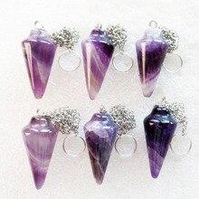 (6 pieces/lot) Wholesale Natural Amethysts Pendulum Pendant Bead 35x15mm Free Shipping Fashion Jewelry DJ697