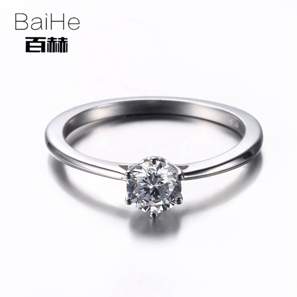 BAIHE Sterling Silver 925 0.89CT Certified Flawless Genuine AAA Graded Cubic Zirconia Engagement Women Trendy Fine Jewely Ring