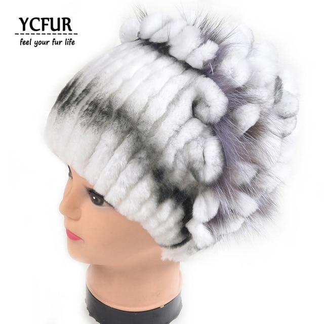 YCFUR Gorros de Piel de Invierno Mujeres 3 Colores Rayas Real Rex Conejo  Sombreros de piel 96793c5a6561
