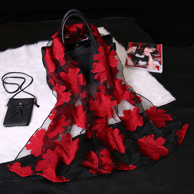 Fashion Elegant Women Flower Organza Long   Wrap     Scarf   Soft Silk Gauze Shawl Lady Gift S9077