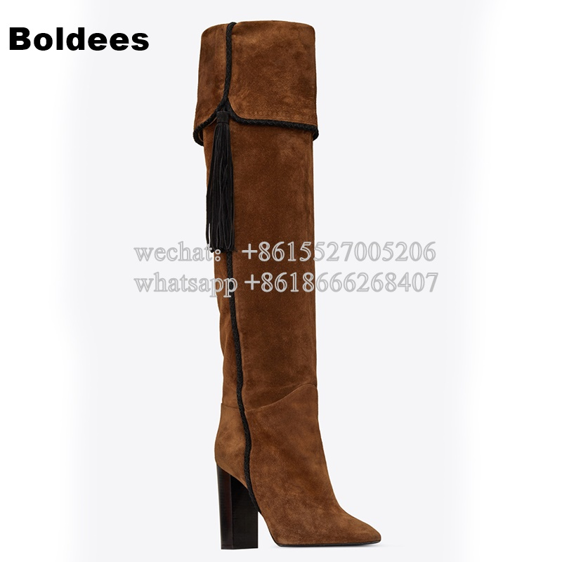 Tassel Suede Leather Knee High Women Winter Boots Fashion Folded Design Tassel Block Heeled Booty tassel suede leather knee high women winter boots fashion folded design tassel block heeled booty