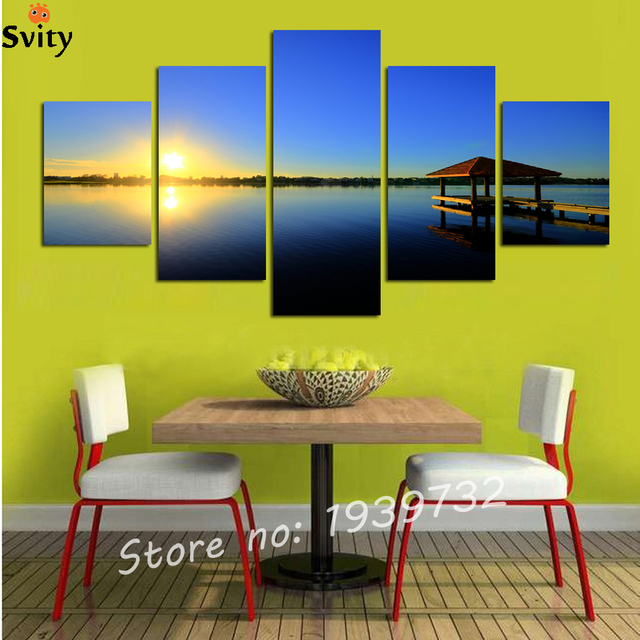 5 Panel Modern Sea Wave Painting Pictures Homd Decor Cuadros Wall ...