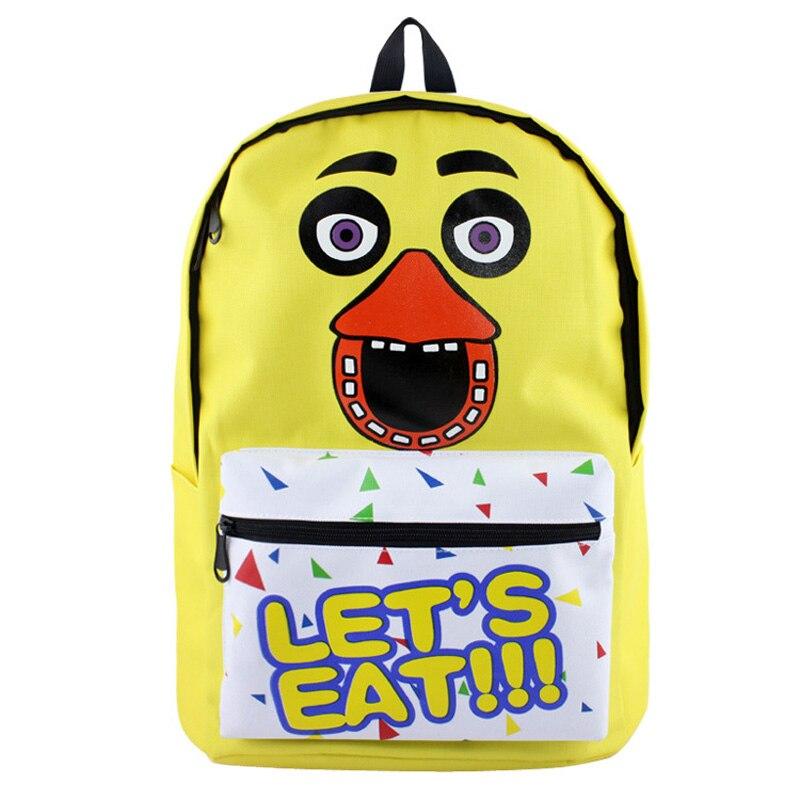 Yellow Anime Five Nights At Freddy&#8217;s Backpack Freddy <font><b>FNAF</b></font> Nylon Backpacks Messenger School Bag Rucksack Students Bag Gift
