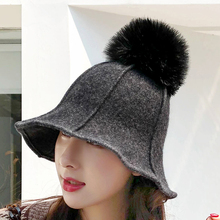 2018 Autumn Winter Women Stylish Wool Felt Campaniform Hat Solid Hairball Bucket Hat Female Casual Wool Felt Hat Dome Cap цена в Москве и Питере