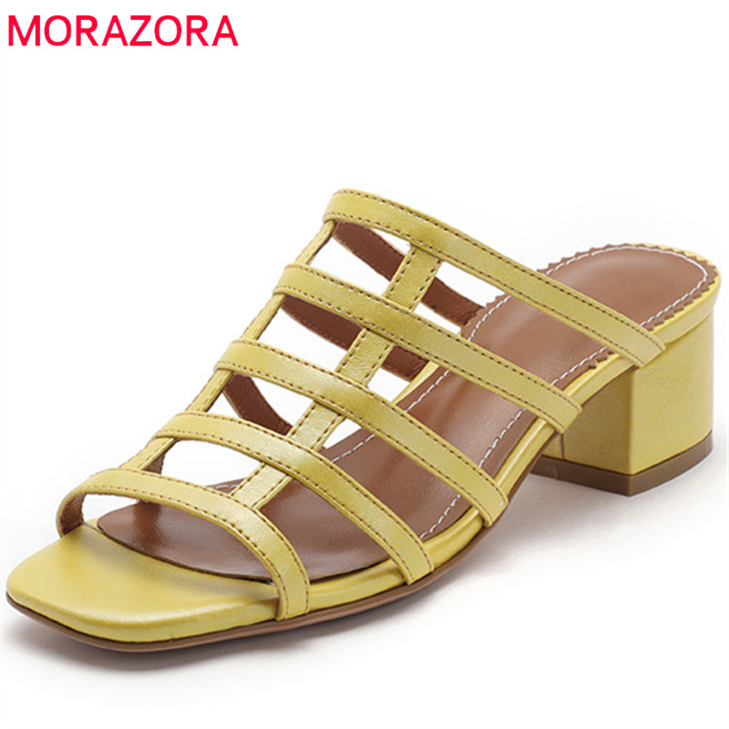 MORAZORA 2019 top quality genuine leather shoes women sandals hollow out summer shoes solid colors fashion dress shoes woman