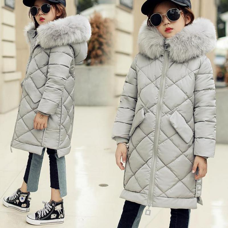 Children Down Coat Long Winter Warm Jackets Girl Clothes Winter Coats Toddler Fur Outdoor Clothing Kids Teen Manteau Fille Hiver 2017 fashion boy winter down jackets children coats warm baby cotton parkas kids outerwears for