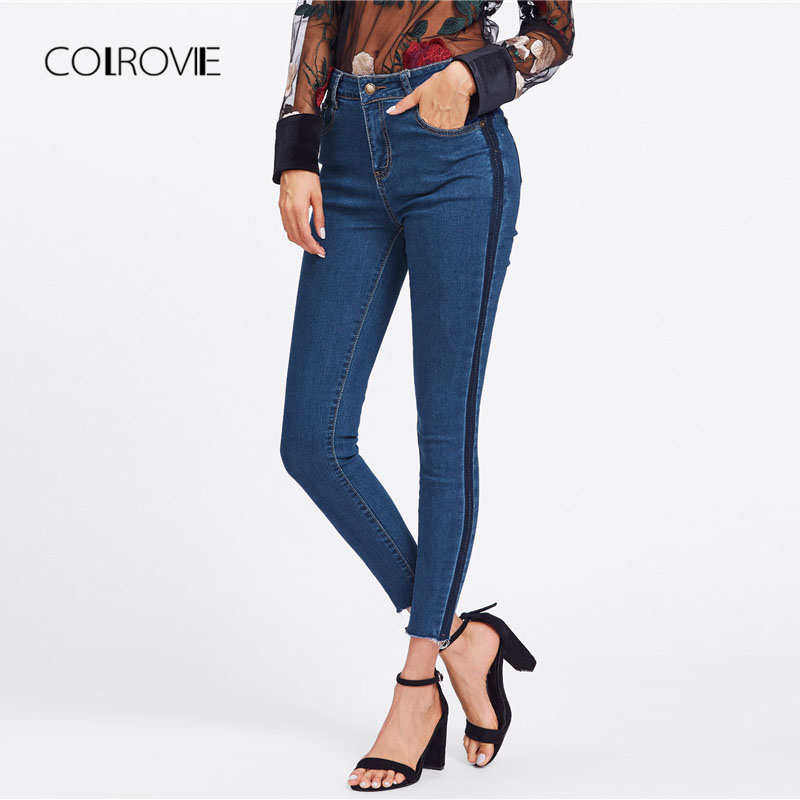 COLROVIE Blue Side Striped Casual Denim   Jeans   Women 2018 Autumn Ripped Mid Waist Skinny   Jeans   Female Pencil Pants Washed   Jeans