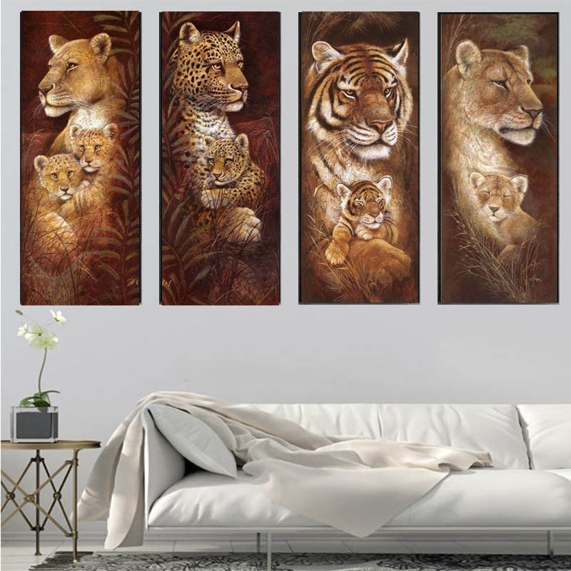 Animales Bordado de Diamantes 5D Pintura Diamante BRICOLAJE Navidad Tigres Y Jirafas Mosaico de punto de Cruz Rhinestone Lleno