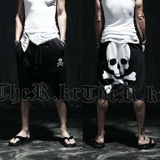 New 2016 summer skull male Calf-Length printed pants Mens slim Hip hop Short Pants Mid trousers Active casual Loose harem pants