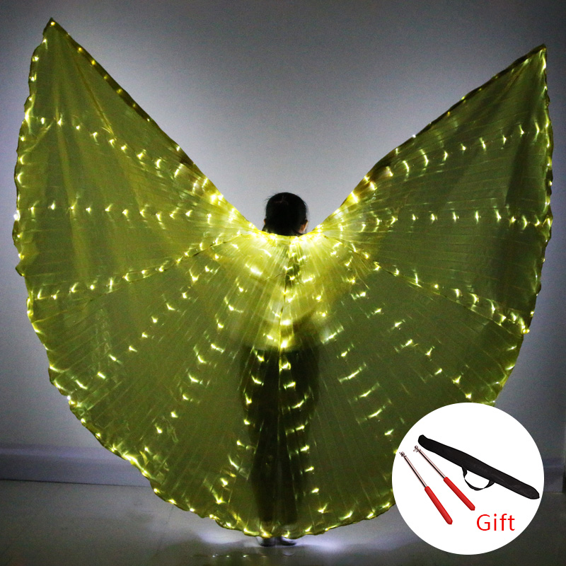 Belly Dance LED Isis Wings Colorful Popular Stage Performance Props Belly Dancing LED Wings Props With Stick