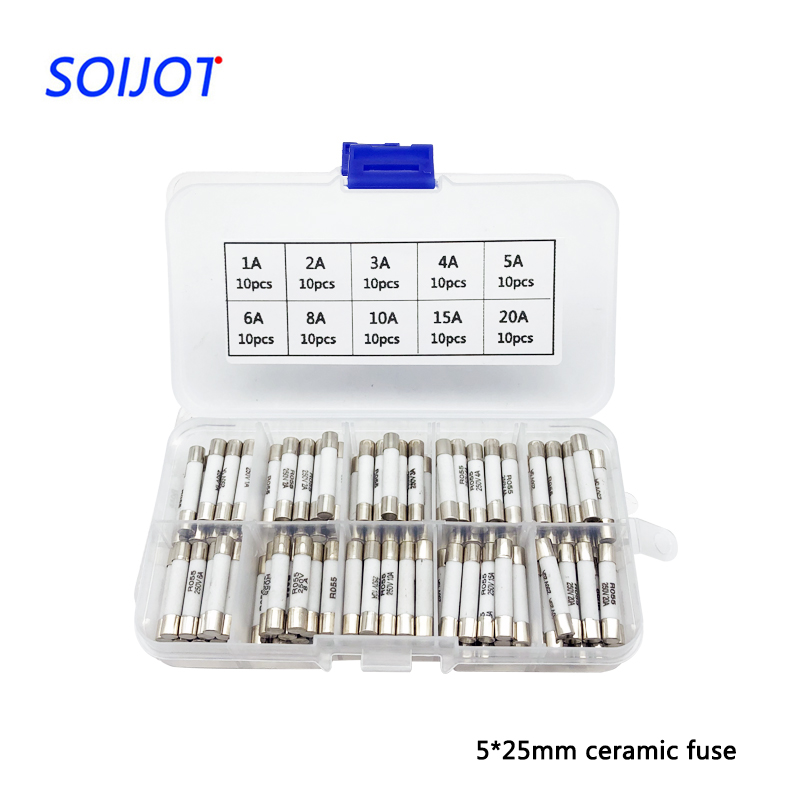 200pcs  Box Fast Blow Ceramic Fuse 5 25mm Fuse 250v 1a 2a 3a 4a 6a 8a 10a 15a 20a 25a 30a