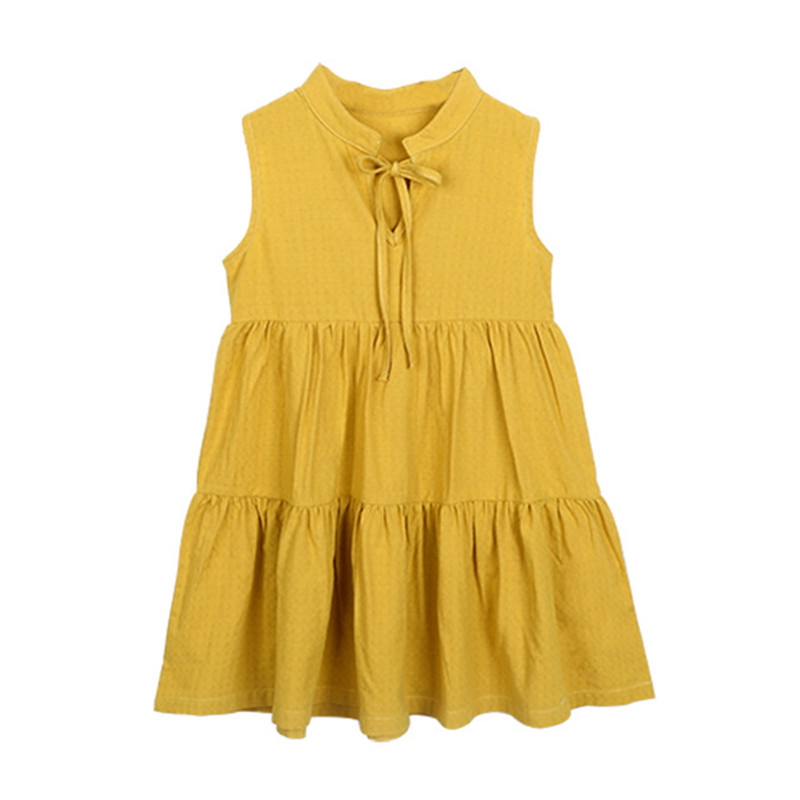 4 to 14T kids & big girls summer fashion cotton loose flare dress children fashion cute casual sleeveless vest dresses clothes