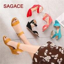 HB@SAGACE Sandals Ladies Pumps Buckle Strap Sandals Shoes Fashion 35-43 Size Wedges Shoes For Women Sandalia Feminina