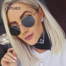 Tarcza okulary przeciwsłoneczne damskie marka projektant lustro Retro okulary przeciwsłoneczne dla kobiet luksusowe okulary przeciwsłoneczne damskie czarne óculos tanie tanio DITUIEO UV400 Anti-odblaskowe Dla dorosłych WOMEN ALLOY SQUARE Akrylowe 50mm 43mm