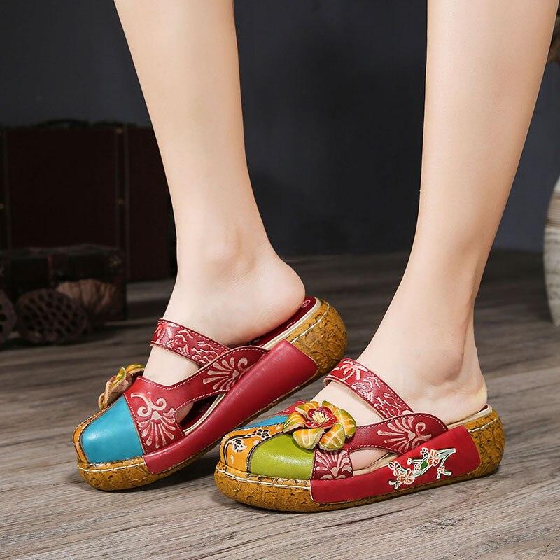 2019 VALLU Summer Women Slipper Shoes Handmade Flower Flat Platform Genuine Leather Ladies Outside Slippers Plus