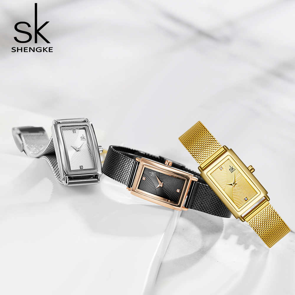 Shengke relógios femininos moda genebra designer senhoras relógio de luxo marca retângulo quartzo ouro relógio de pulso presentes de luxo para mulher