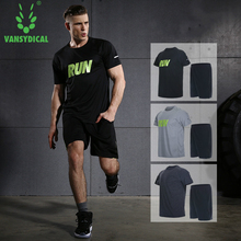 Sport suit men's short-sleeved summer running clothing quick-drying breathable workout clothes leisure two-piece thin clothes