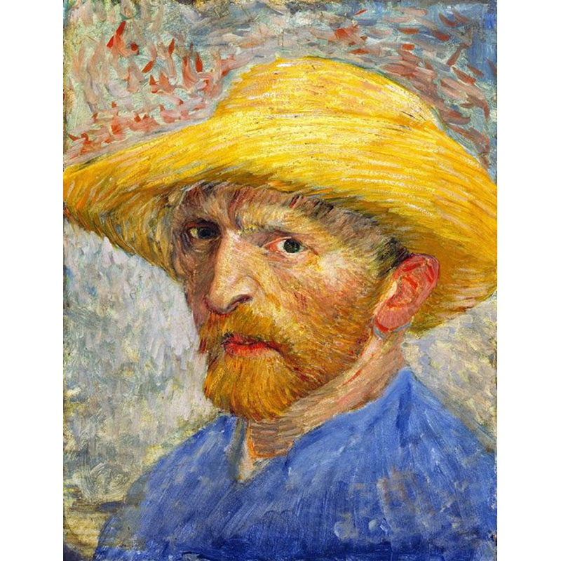 hand painted Self-Portrait and landscape with Straw Hat art abstract Canvas painting Vincent Willem van Gogh Impressionism