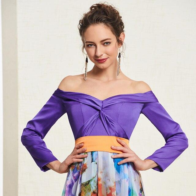 Dressv élégant indigo longue robe de bal hors de lépaule simple a-ligne impression soirée robe de soirée robes de bal personnaliser