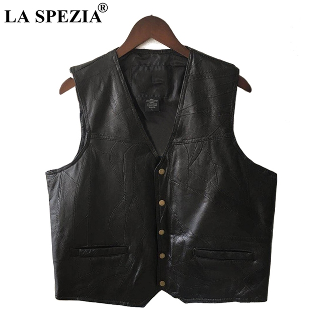 LA SPEZIA Mens Waistcoat Black Biker Vest Genuine Leather Motorcycle Rock Sleeveless Jacket Male Autumn Plus Size Clothing 4XL