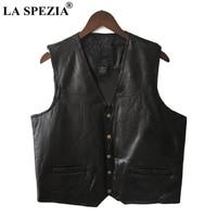 LA SPEZIA Mens Waistcoat Black Biker Vest Genuine Leather Motorcycle Rock Sleeveless Jacket Male Autumn Plus Size Clothing 4XL