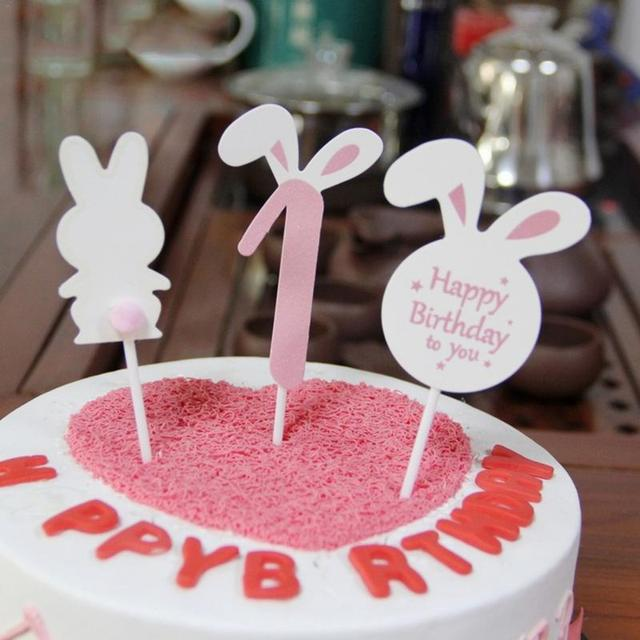 Cute Rabbit Birthday Cake Decoration Party Topper Ornament Anniversary Baking Supplies