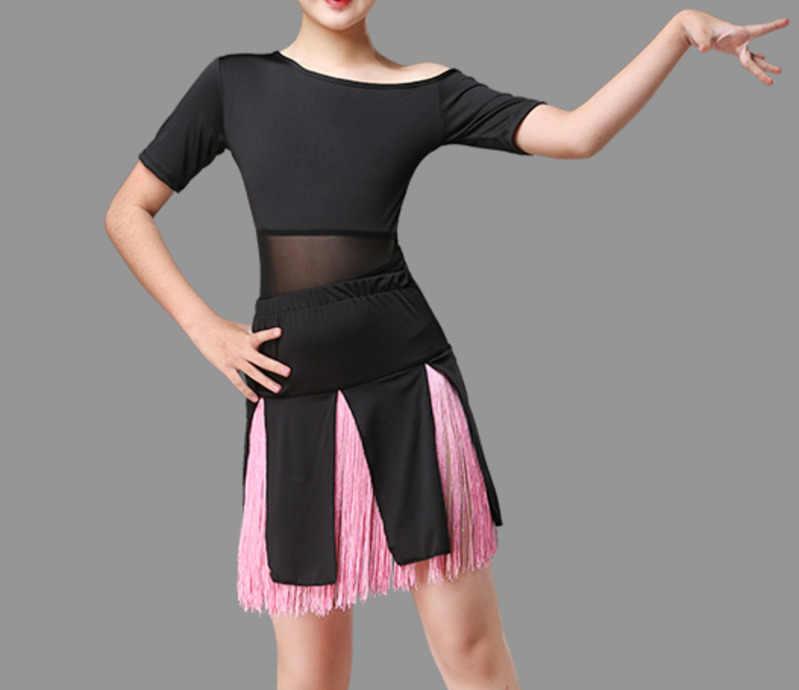 เต้นรำละตินการแข่งขันบอลรูม Tango กระโปรงและชุดเด็กหญิงชุดเด็ก Salsa ชุดเลื่อม Fringe เด็ก