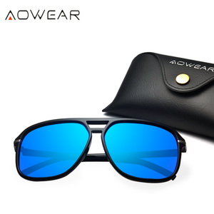 Image 2 - AOWEAR lunettes de soleil rétro carrées pour hommes, verres miroirs polarisés, pour la conduite, pour lextérieur, haute définition, élégantes, bleues, Oculos