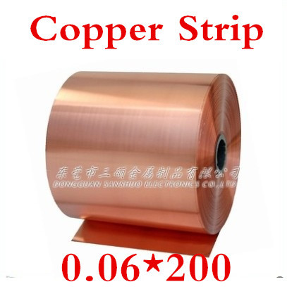 1 meters 0.06x200mm  0.06mm High Quality Copper foil,Copper tape,Copper Strip