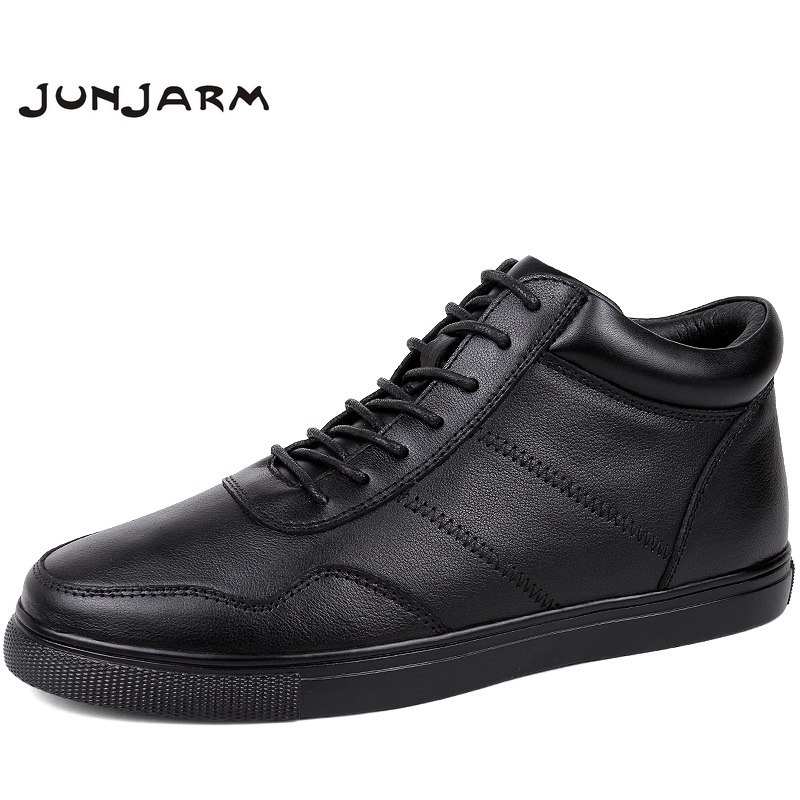 JUNJARM Brand Winter Warm Velvet High Top Men Casual Shoes 100% Genuine Leather Male Footwear Fashion Designer Big Size 36-48 top brand high quality genuine leather casual men shoes cow suede comfortable loafers soft breathable shoes men flats warm