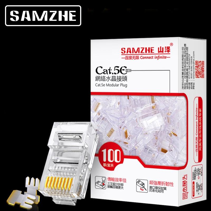SAMZHE Cat5e RJ45 Modular Plug 8P8C Connector For Ethernet Cable,Gold Plated CAT 5e Gigabit Bulk Ethernet Crimp Connectors
