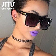 Vintage Square Sunglasses Lady Flat Top Eyewear Lunette Femm