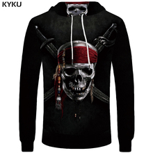 KYKU Brand Skull Hoodie Men Black Male Knife Mens Clothing War Streetwear Hood Long Sweatshirt Casual Funny Pocket