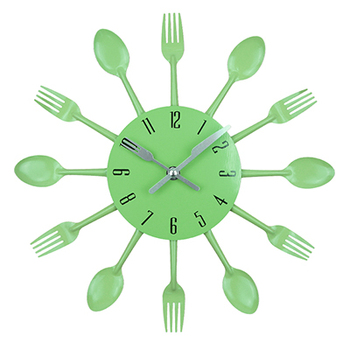 Cutlery Metal Kitchen Wall Clock Spoon Fork Creative Quartz Wall Mounted Clocks Modern Design Decorative Horloge Murale Hot Sale 8
