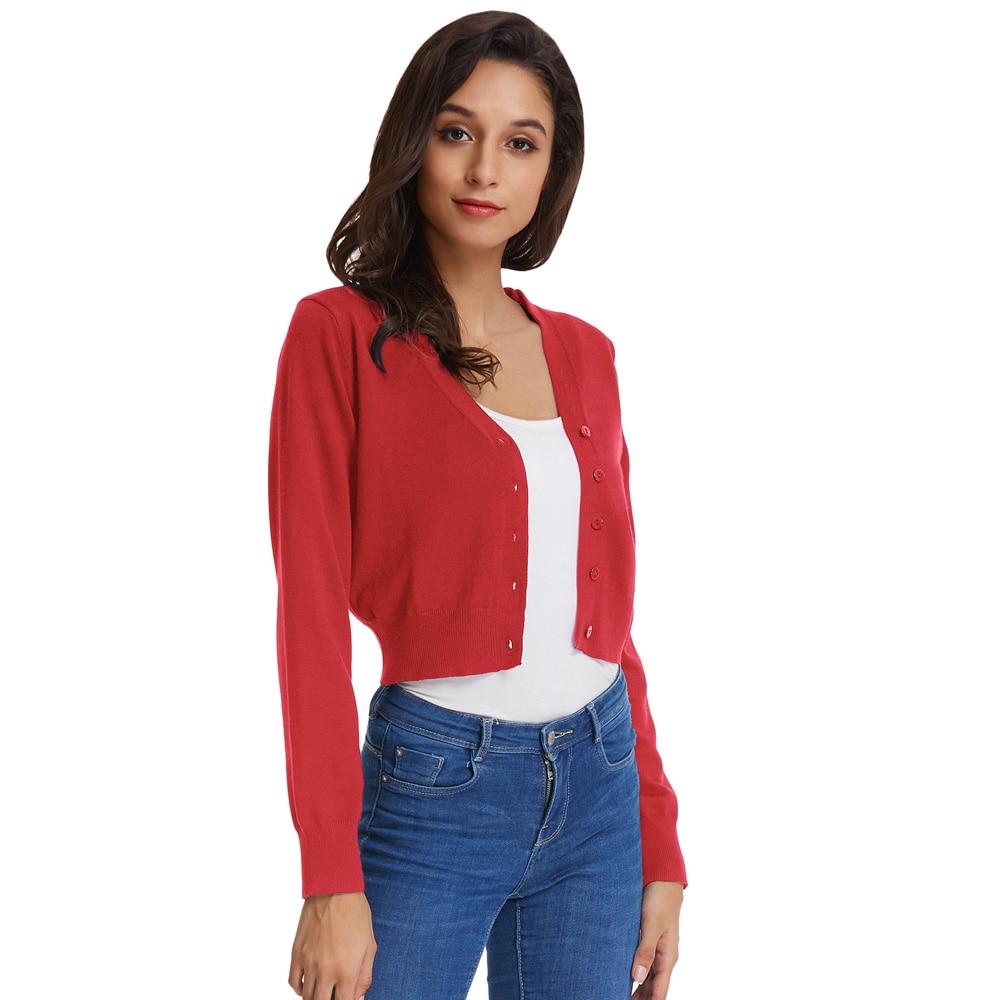 Gk Women's Coat Nine Point Sleeve V-Neck Cropped Cotton Knitwear Knitting Coat Cardigan Soft Comfortable Women Jacket
