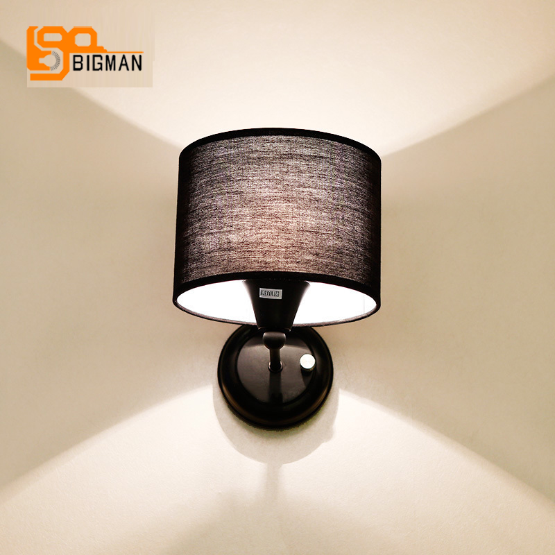 Fast shipping contemporary wall lamp cloth shade wall light for bedroom living room contemporary living space