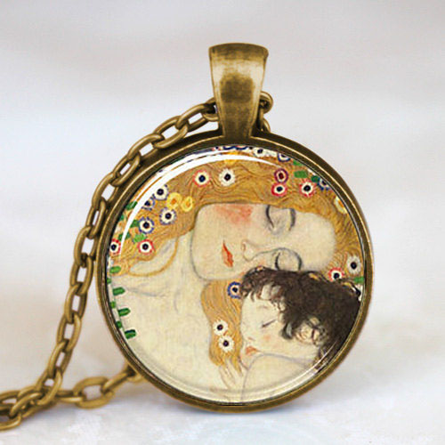 Steampunk Mother and Child by Gustav Klimt Pendant women Necklace glass 1pcs/lot mens handmade jewelry dr who chain