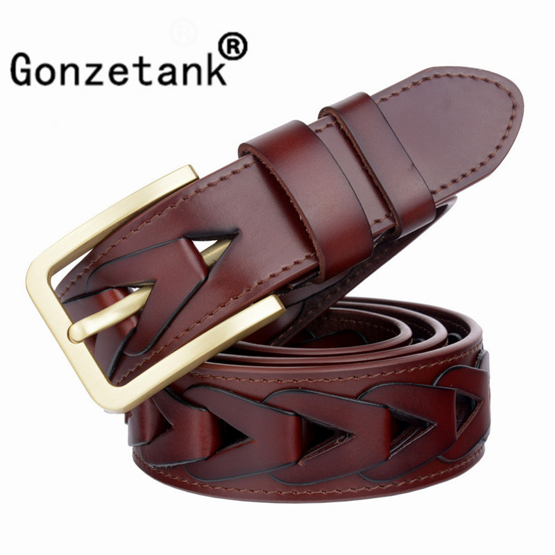 Gonzetank 2017 New Hot Brand Mens Designer Fashion Luxury Leather Braided Belt Vintage Harness 100% Cowhide Genuine 110-125cm