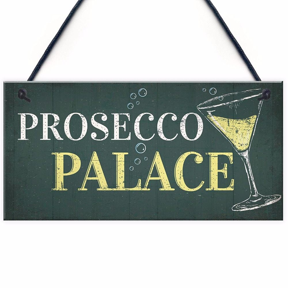 Mancave Bar Personalised Large Prosecco Bar SignHanging Metal Plaque Gifts