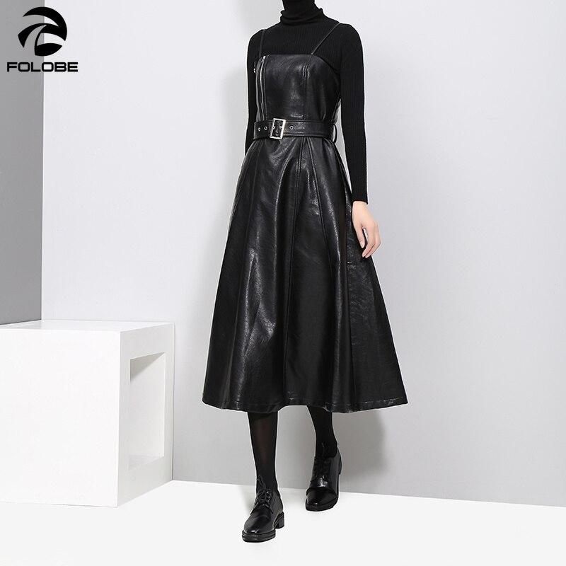 FOLOBE 2019 automne hiver femmes Faux cuir noir robe ceinture a-ligne Spaghetti sangle sans manches soirée soirée tenue de club robe