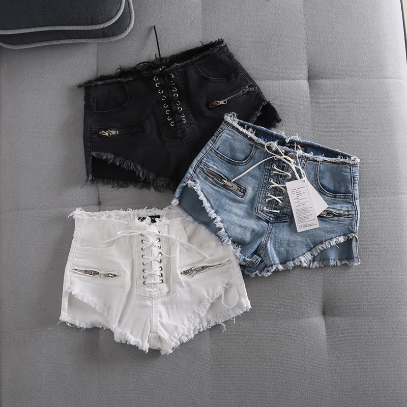 Sexy Summer Women Denim Black Ripped Short Jeans High Waisted Tassel Elastic Lace Up Bandage Shorts Hotpants Denim Short Pants