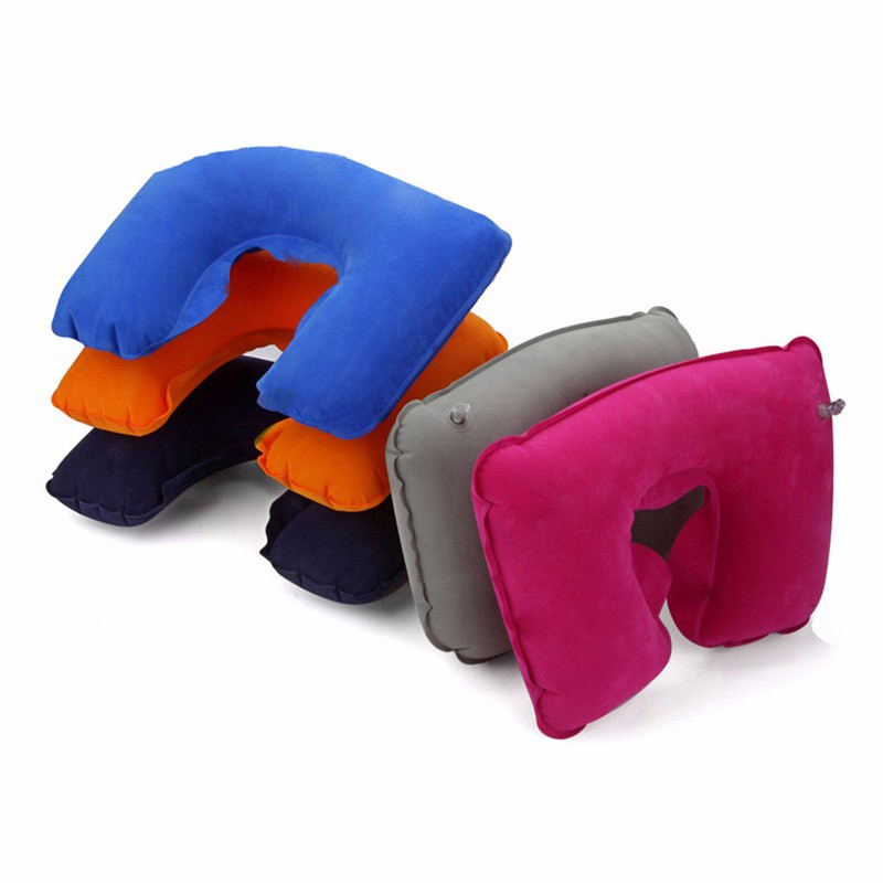 Inflatable U Shaped Car Travel Soft Air Pillow Head Rest Cushion Plane Home Office Nap Rest Neck Back Flocking Pillow