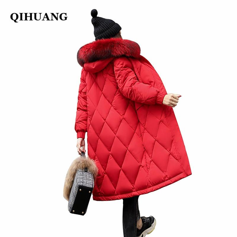 QIHUANG Winter Women   Down   Jacket Hooded Fur Collar Long Female   Coat   2018 Winter Warm Women Duck   Down     Coat   Plus Size Wadded   Coat